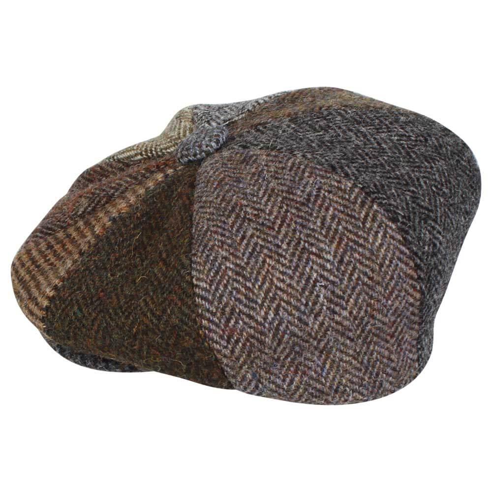 Harris Tweed Patchwork – 8 Piece Button Gatsby Bakerboy Newsboy Cap ... f2253b390b32