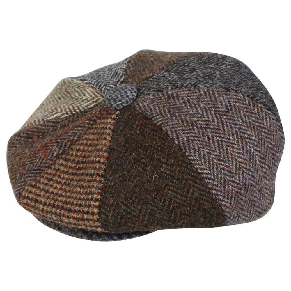 d9e6a723d89 Harris Tweed Patchwork – 8 Piece Button Gatsby Bakerboy Newsboy Cap ...